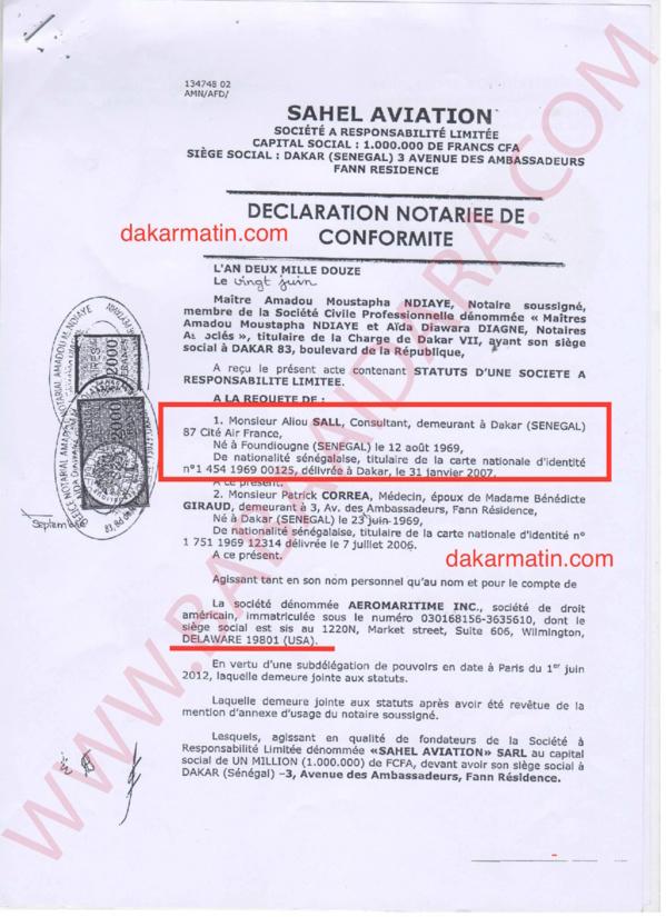 Création d'une entreprise d'aviation par Aliou Sall: Dakarmatin apporte les preuves