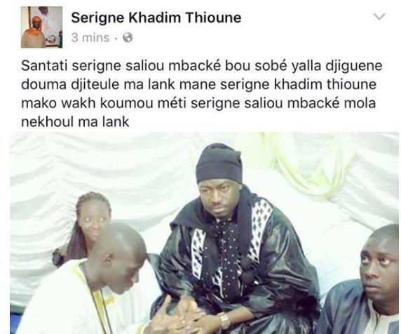 Affaire des Cheikhettes : Un des fils de Cheikh Béthio n'est pas d'accord avec lui