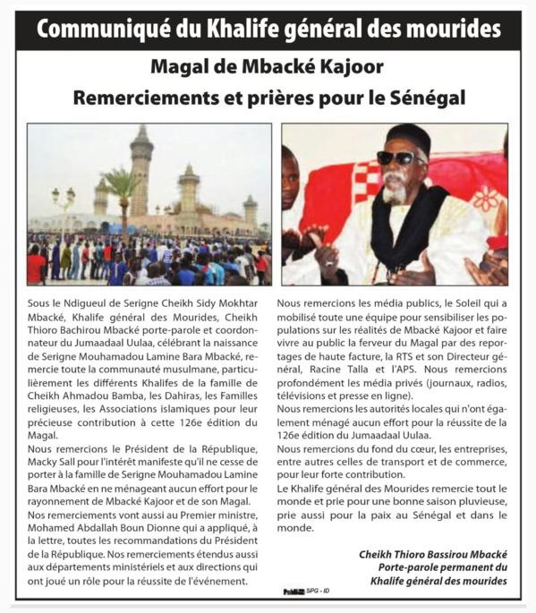Remerciements et Prières du Khalife Général des Mourides