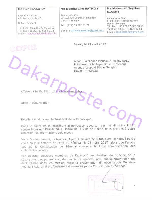 Voici la lettre que les avocats de Khalifa Sall ont adressé au Pr Macky Sall  !