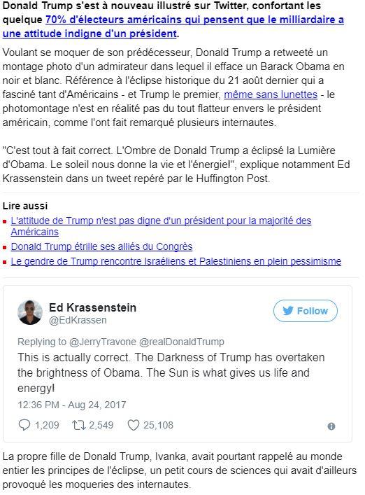 Donald Trump a-t-il vraiment compris le phénomène de l'éclipse?