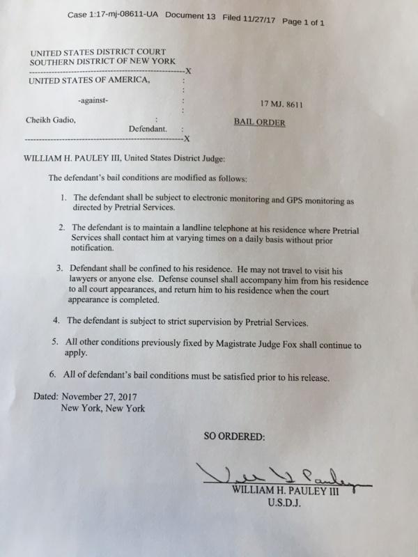 Le document fixant les conditions de l'assignation de Cheikh Tidiane Gadio