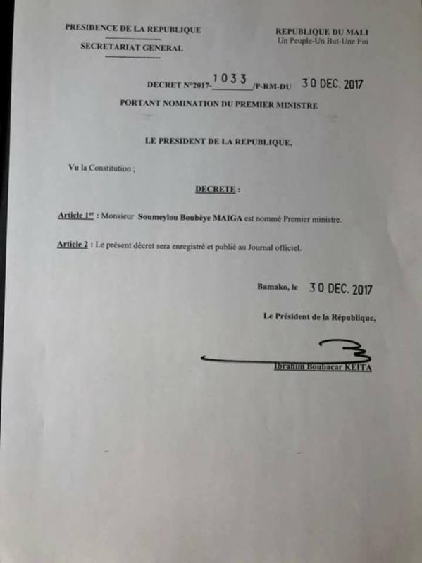 Soumeylou Boubeye Maiga est le nouveau Pm du Mali  (décret)