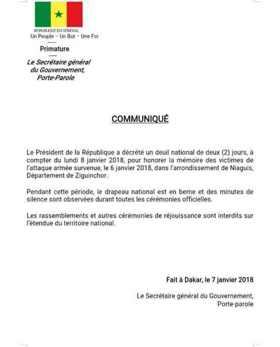 Deuil national- Voici le décret Présidentiel !