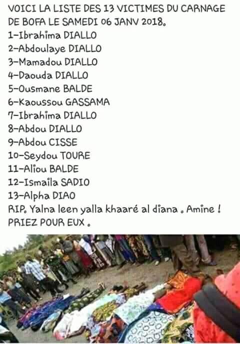 Voici la liste complète du carnage de Borofaye