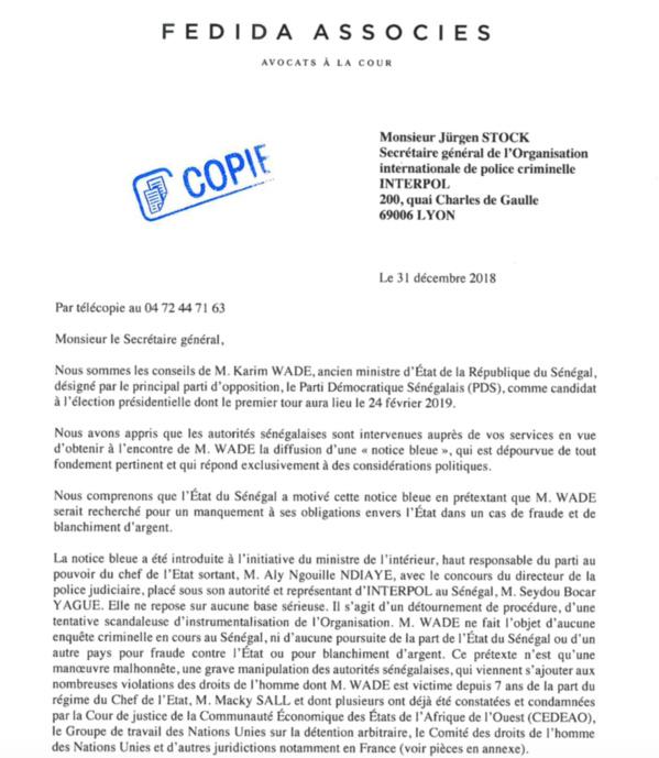Les avocats de Karim Wade saisissent Interpol par voie épistolaire
