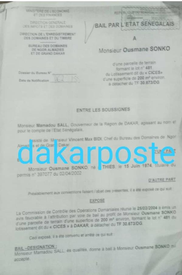 """Ce bail que le candidat à la Présidentielle, Ousmane Sonko a """"oublié"""" de...déclarer"""