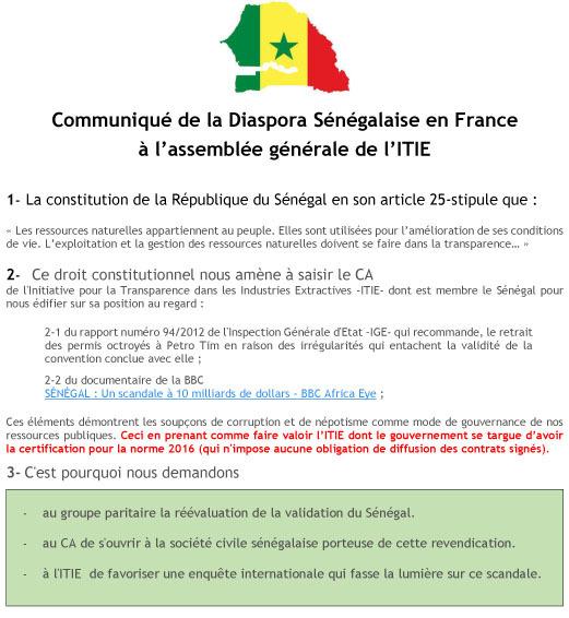 Paris : scandale à 10 milliards $ au Sénégal,  Le président du conseil d'administration de l'Itie dément le gouvernement.
