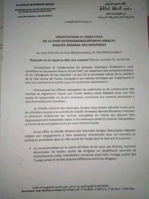 Voici les orientations et directives du khalif général des mourides, Serigne Mountakha Mbacké !
