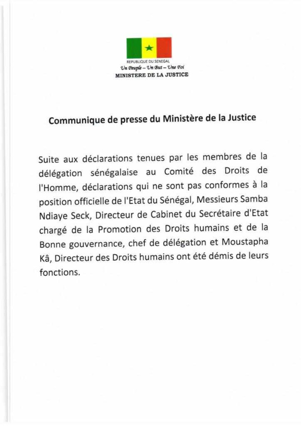 Comité des droits de l'homme : Moustapha Ka et Samba Ndiaye Seck limogés virés (document)