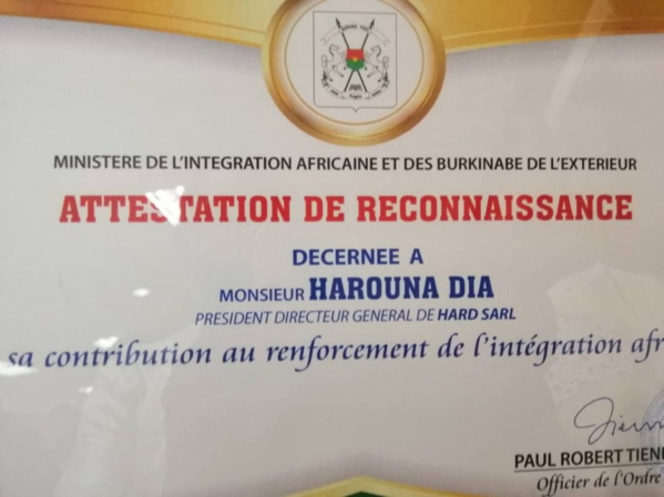 Intégration africaine - Le capitaine d'industries Harouna  Dia distingué par le Burkina Faso