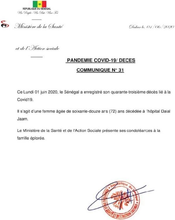 Covid-19 : Le Sénégal enregistre son 43e décès