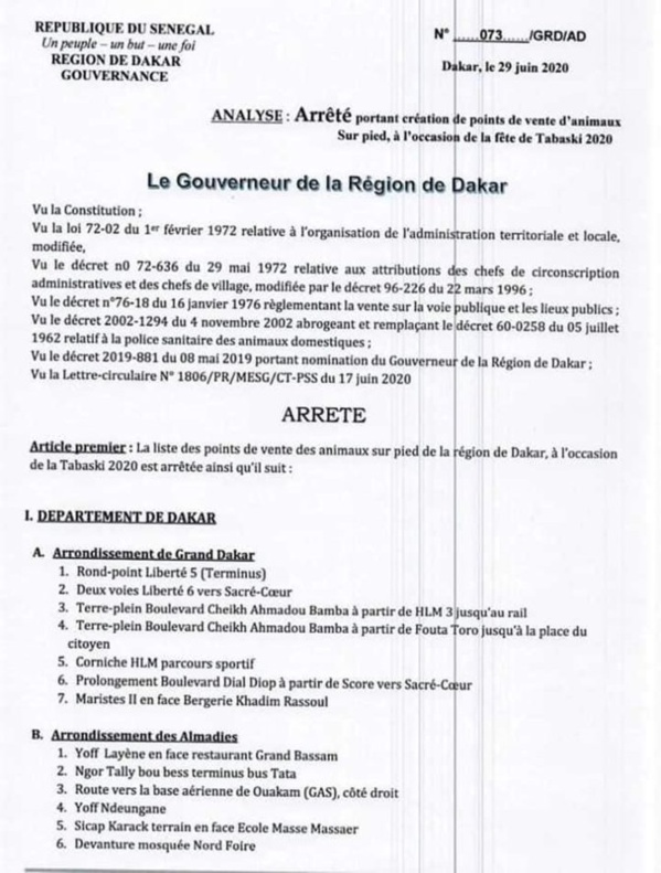 [Document] Tabaski 2020 : Le gouverneur fixe les points de vente de moutons autorisés à Dakar