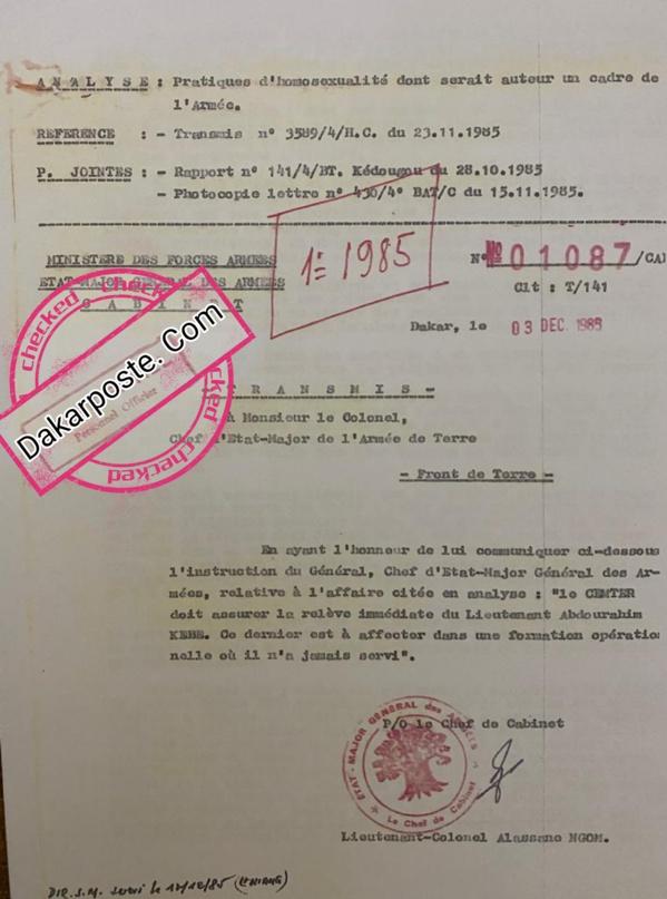 Le colonel Kébé enseignant à l'Université Gaston Berger de Saint-Louis – Un danger pour les étudiants ! (DOCUMENTS)