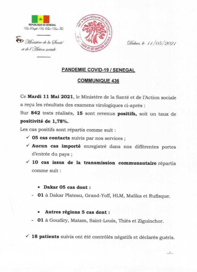 Sénégal - 15 nouvelles personnes testées positives au coronavirus