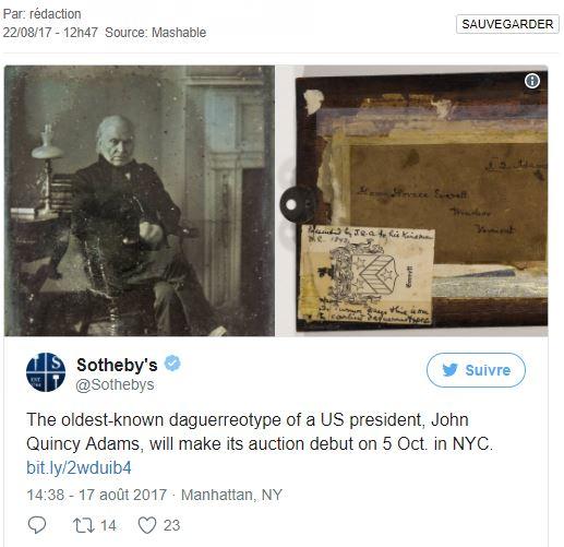Découverte de la plus vieille photo intacte d'un président américain