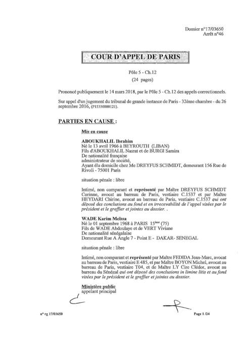 Karim Wade : l'intégralité de la décision Cour d'Appel de Paris, entre manipulation et mauvaise foi des avocats