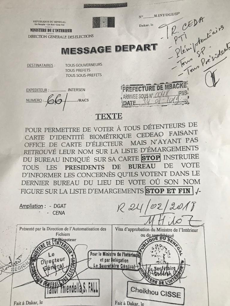 Voici l'arrêté du sous préfet de Ndam pour permettre aux électeurs de voter !