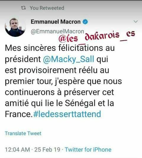 Macky Sall proclamé vainqueur, Macron le félicite