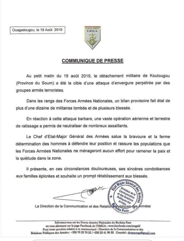 Burkina: plus d'une dizaine de militaires tués dans une «attaque d'envergure»