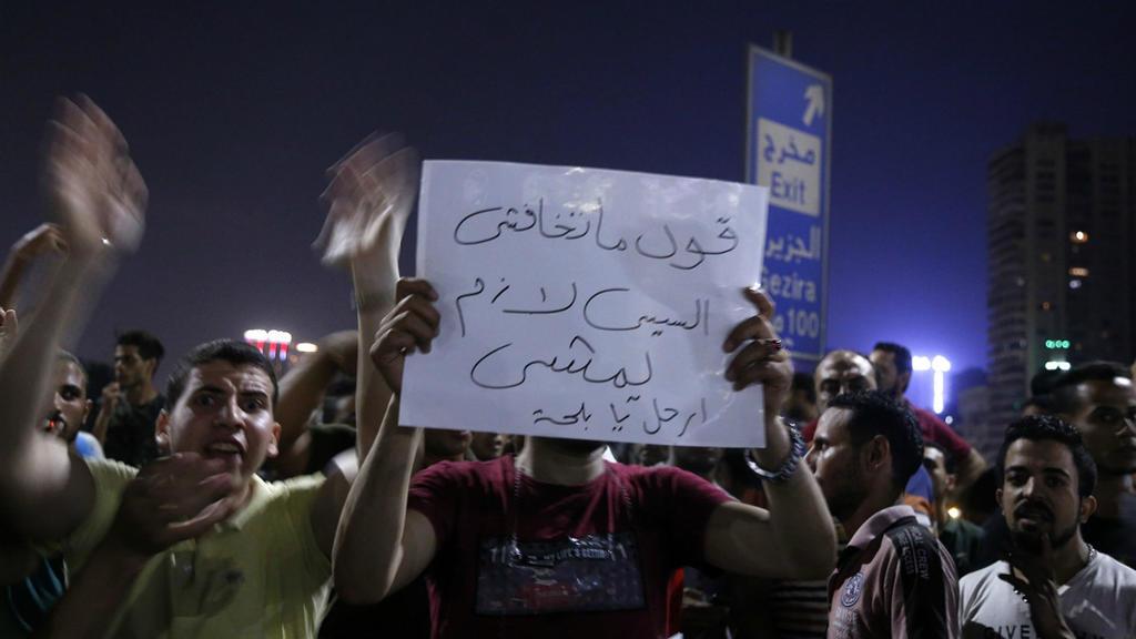 Des manifestants demandant la démission du président Sissi dans les rues du Caire, le 20 septembre 2019
