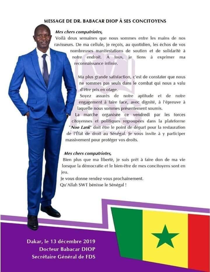 Voici le message du Dr Babacar Diop co-détenu de Guy Marius Sagna!