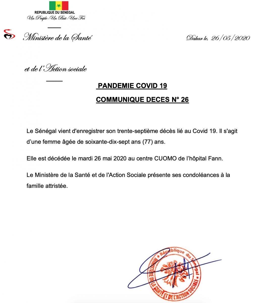 Covid-19 : 37e décès enregistré au Sénégal