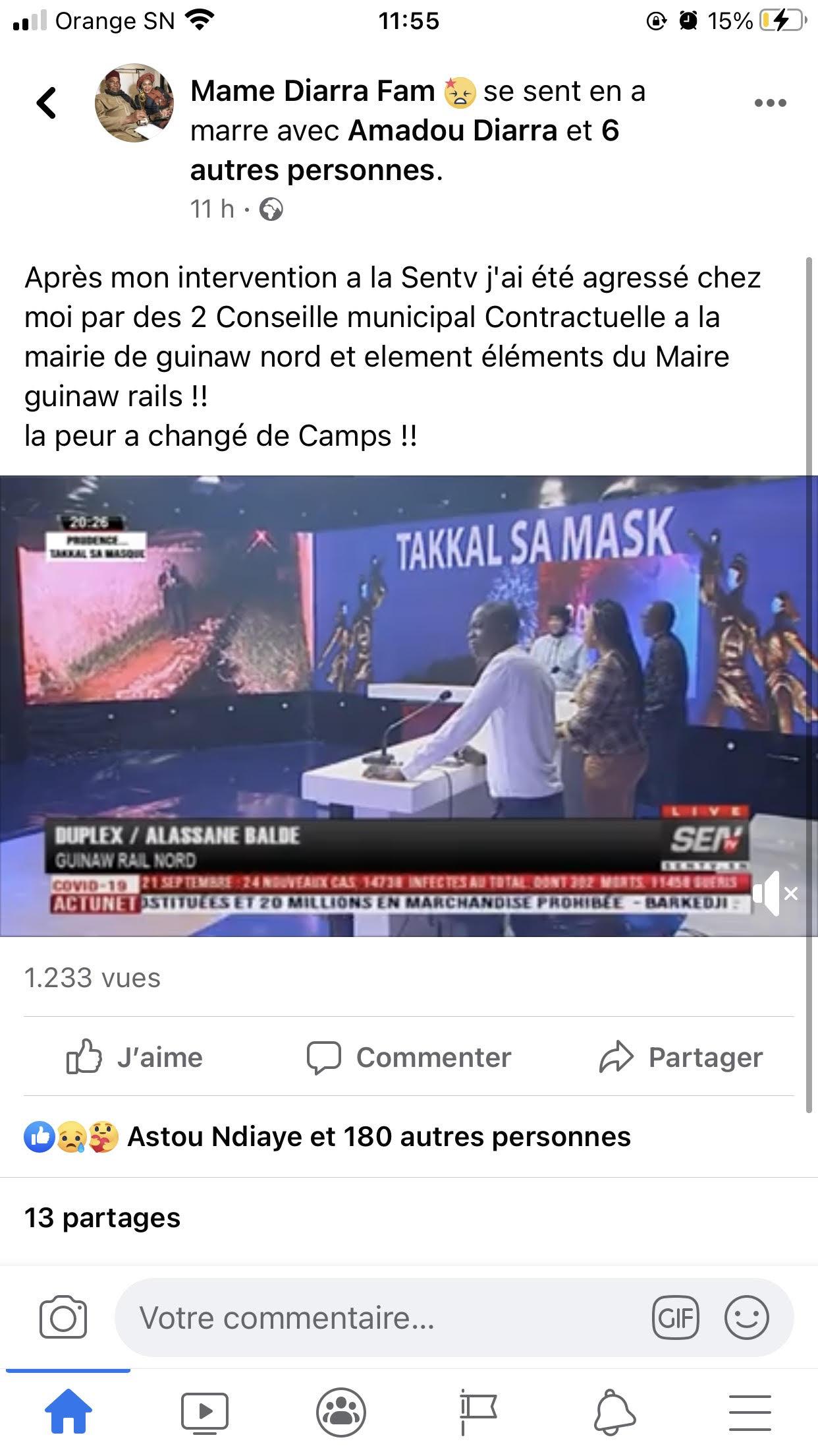 """Mame Diarra Fam agressée et battue: """"C'est le maire de Guinaw-Rails""""..."""