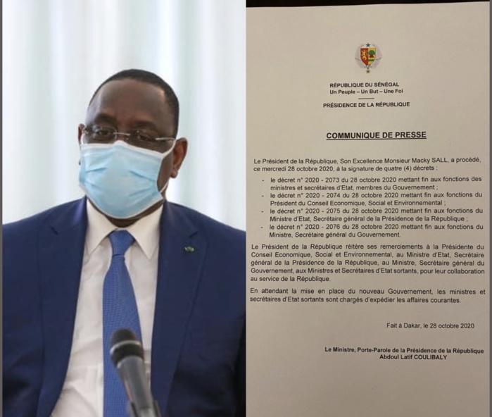 Le président Macky Sall se sépare de ses ministres, Secrétaires généraux et de la Présidente du CESE. (DÉCRETS)