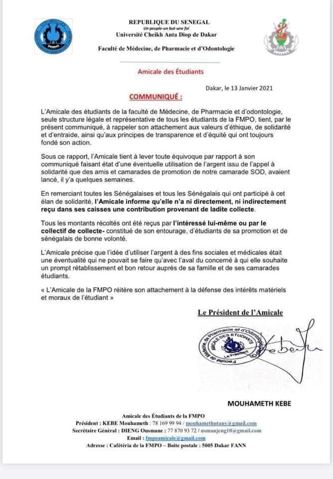 AFFAIRE S.O.D/AU COEUR DE LA POLÉMIQUE  Le rétropédalage de l'amicale des étudiants de la Fac médecine