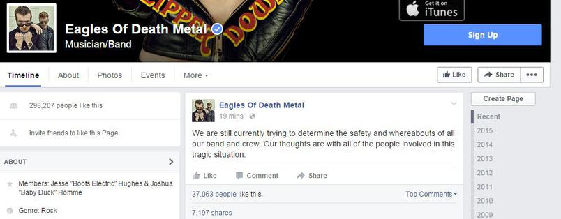 Le groupe de musique qui jouait au Bataclan réagit sur Facebook