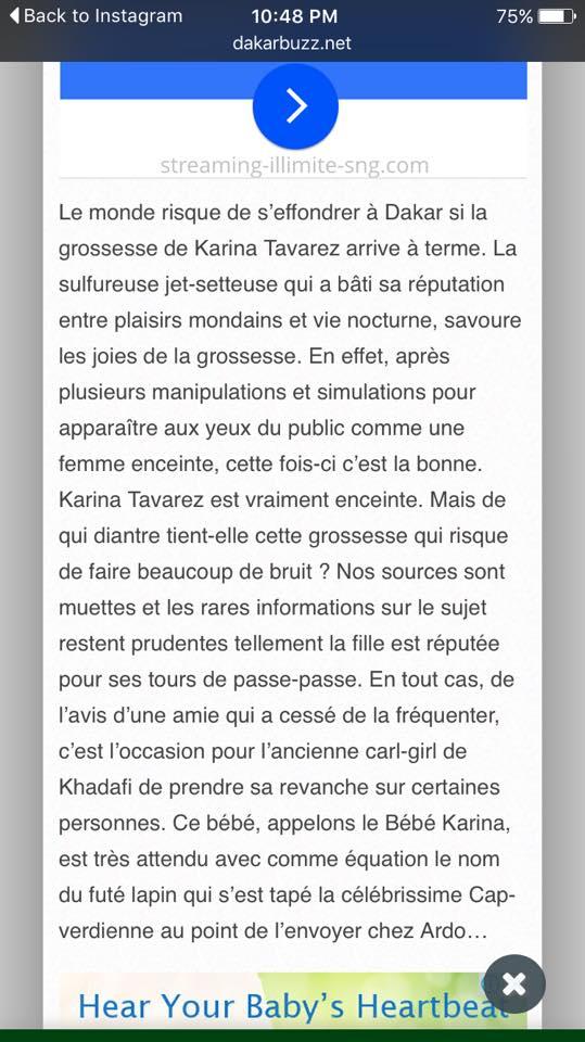 Voici l'article écrit sur elle par certains sites et qui a courroucé Karina