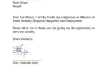 Voici la  lettre de démission du ministre Gambien du commerce abdou jobe !
