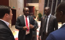 Forum des Investisseurs dans la Ville YIWU le Ministre Pape Ndong le PDG de Crestone Tirera Soura et Thiaye diaby Manager Général de Crestone